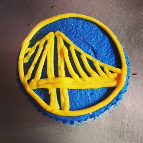 cupcake with warriors theme
