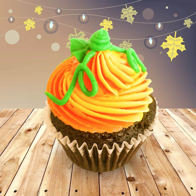 chocolate cupcake with orange frosting