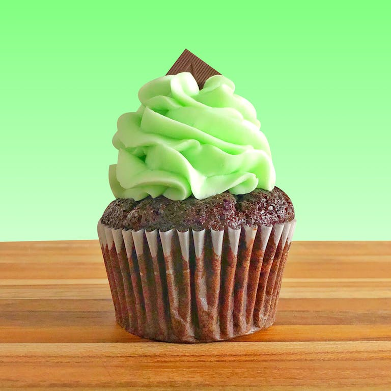 chocolate cupcake with green frosting