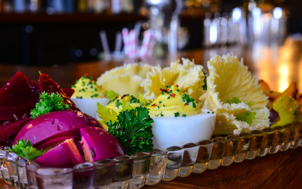 a close up of deviled eggs