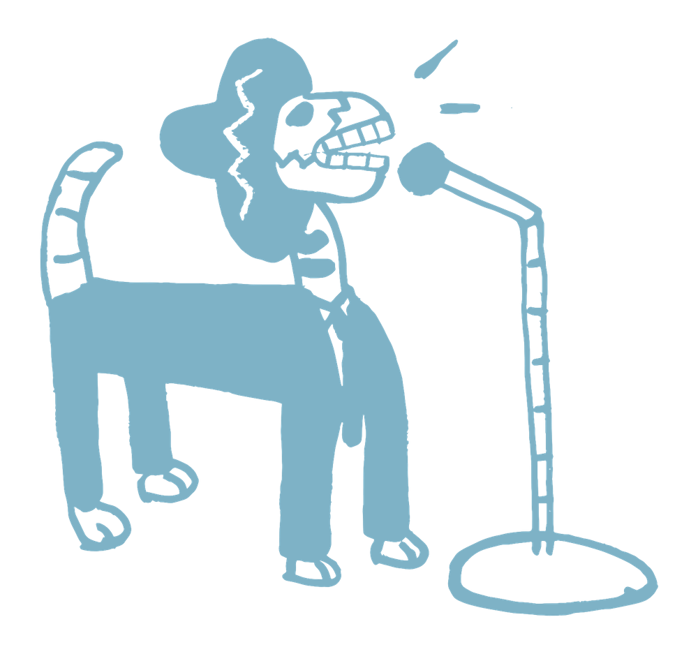 a dog singing logo