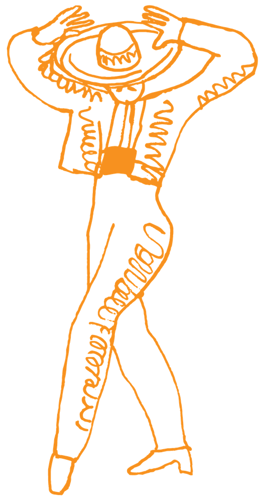 a logo of a person dancing