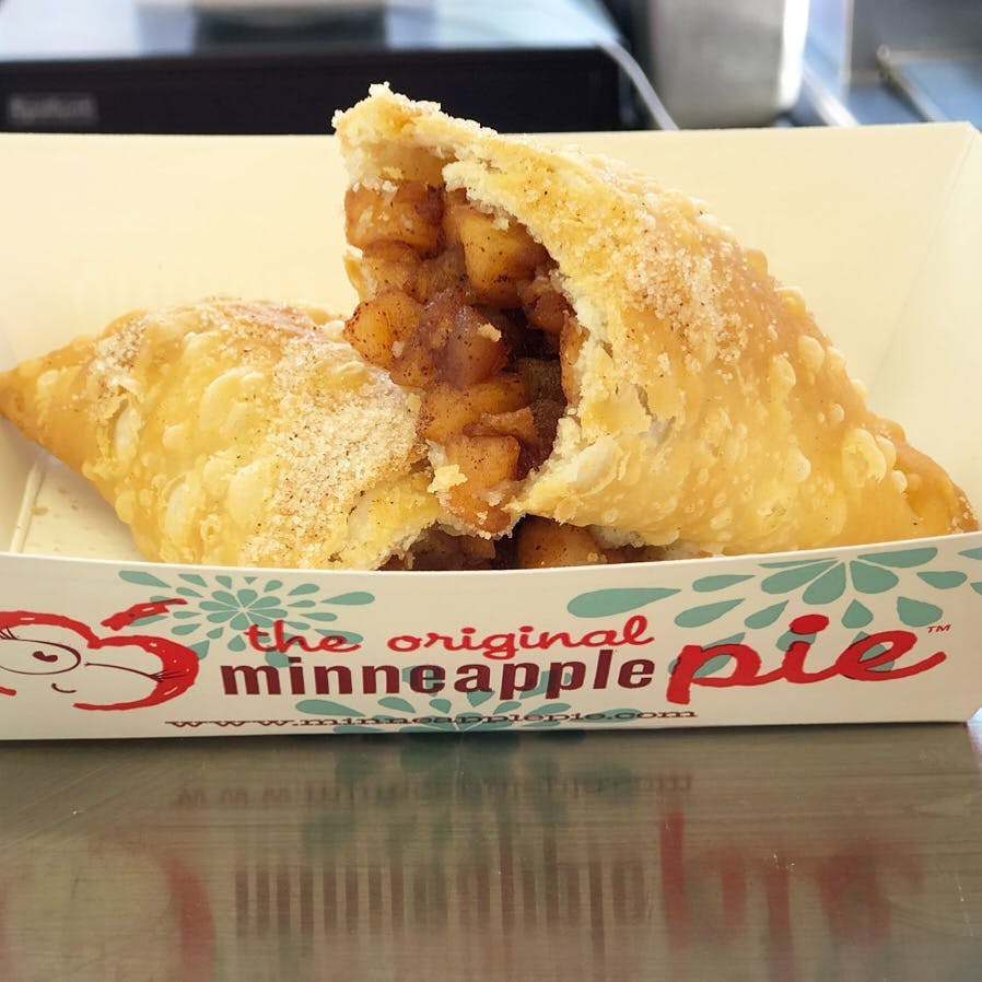 deep fried pie on a plate sitting on a counter