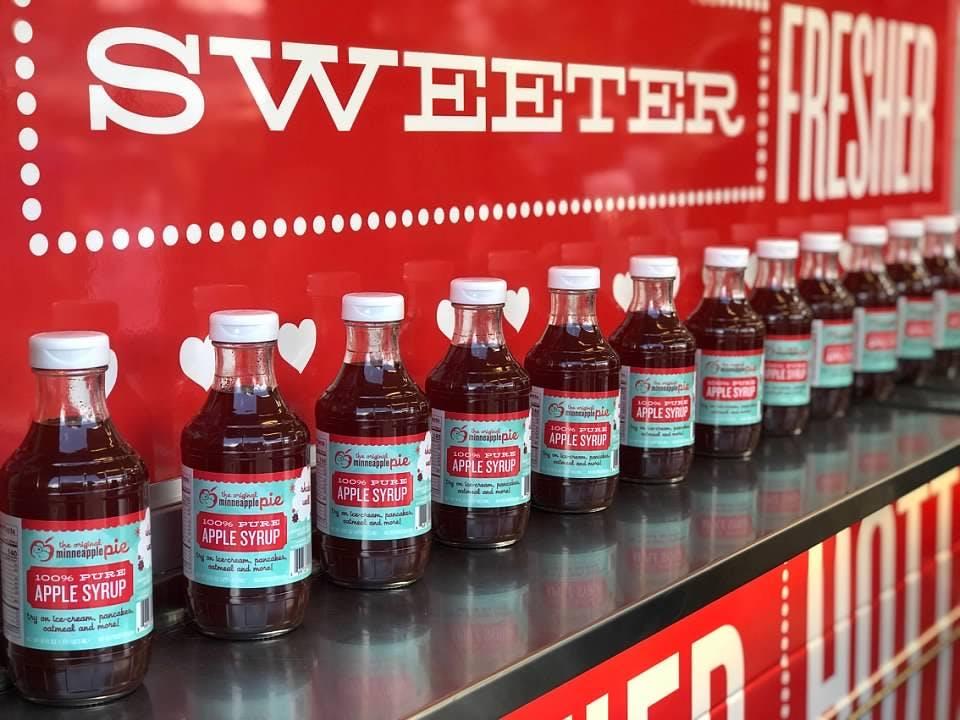 bottles of minneapple pie apple syrup