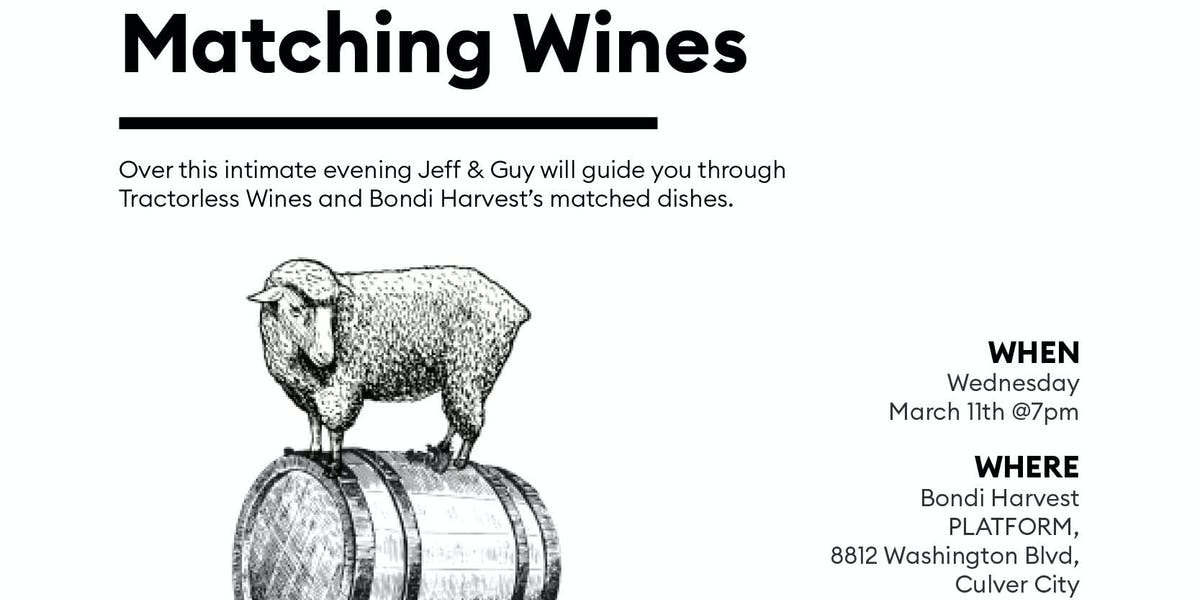 Tractorless Wine Dinner Including a case of wine | Bondi ...