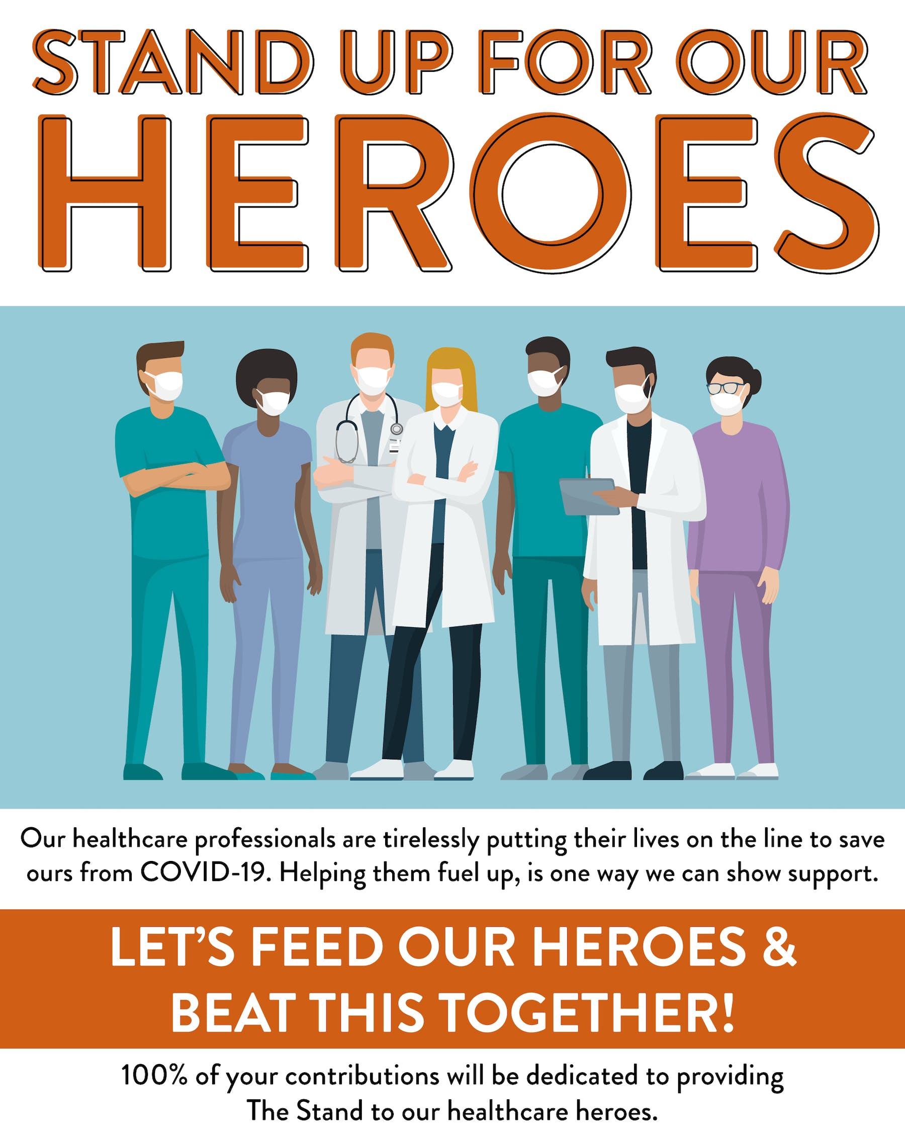 animation of nurses and doctors. feed our healthcare heroes