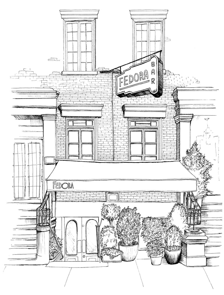 a black and white sketch of the Fedora Bar's building