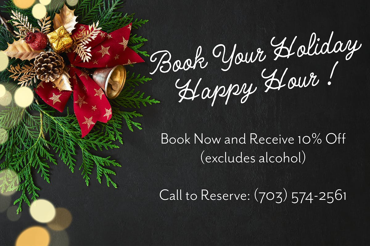 Festive background featuring a holiday wreath with Happy Hour promotion details.