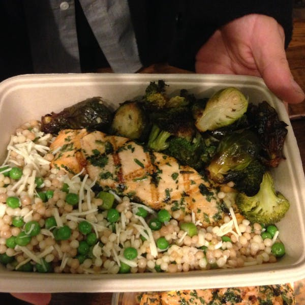 Lunch special salmon with brussel sprouts and couscous