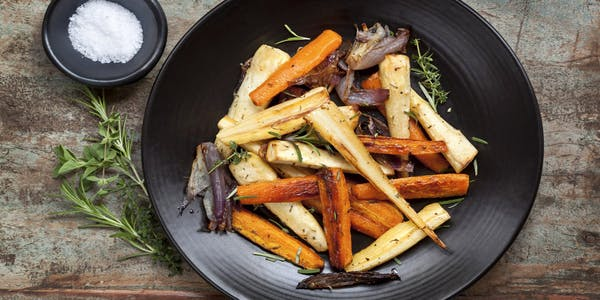 Plated parsnips and carrots