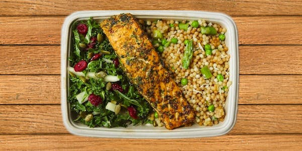 Couscous with peas and asparagus, lunch special salmon and kale apple salad