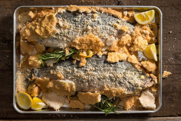 Tray of Salt Crusted Fish, Thyme and Lemon