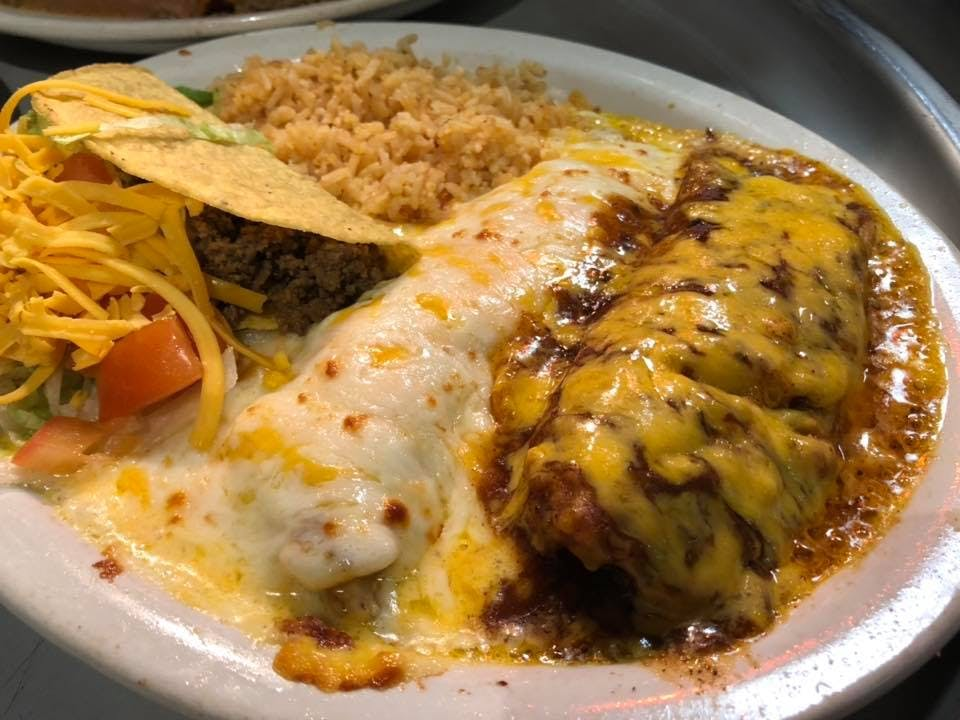 plate of tacos and enchiladas