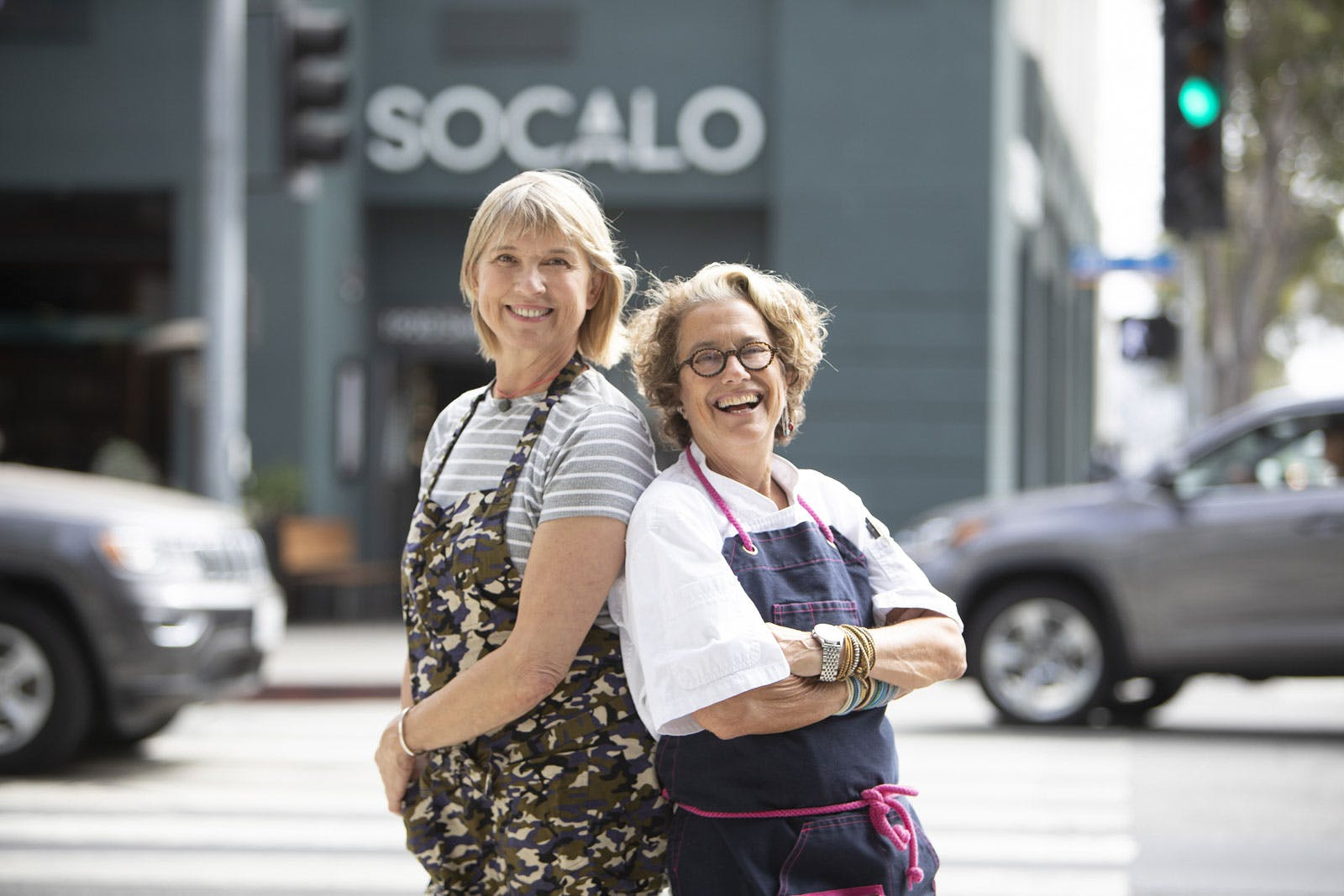 Mary Sue Milliken, Susan Feniger are posing for a picture