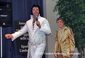 a person dressed as Elvis posing for the camera