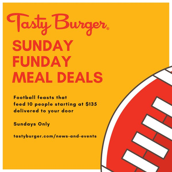 a drawing of a football with sunday funday meal deals text