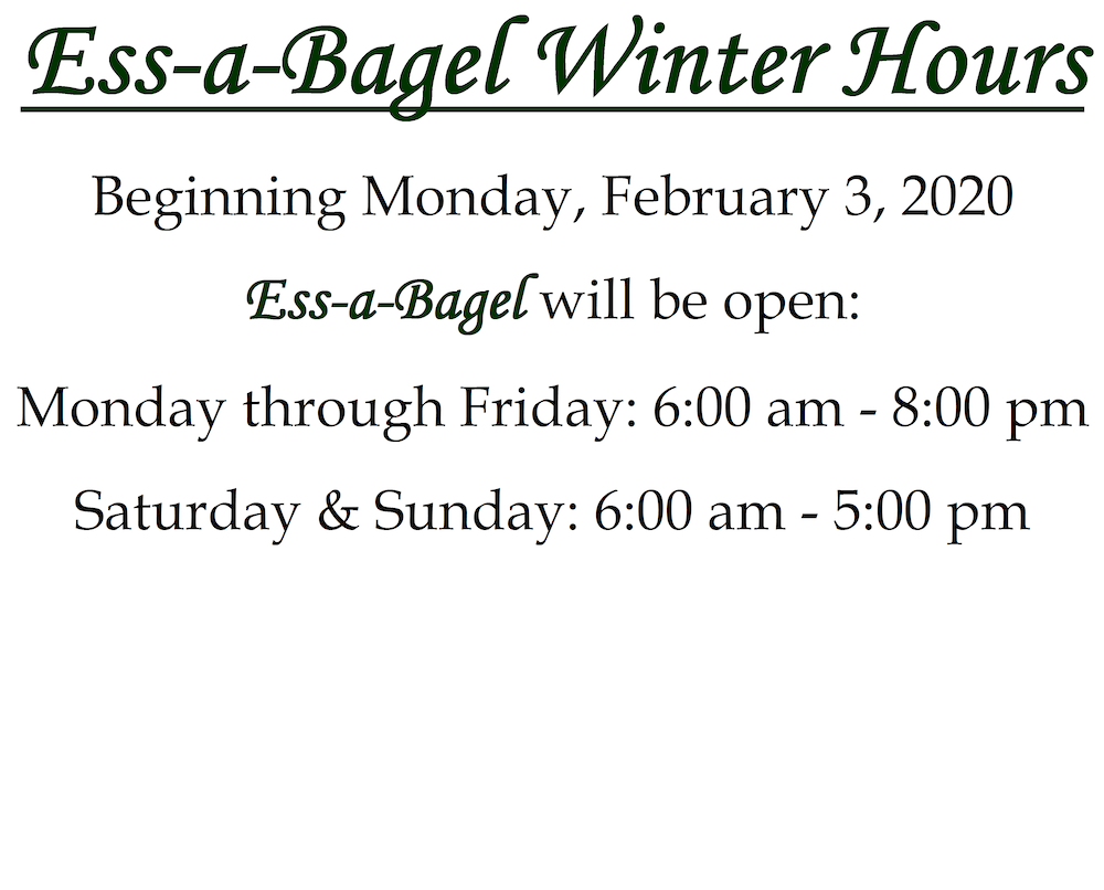 Winter Hours: Monday through Friday 6 am to 8 pm, Saturday & Sunday 6 am to 5 pm