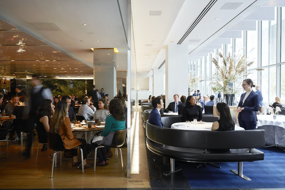 The view of The Modern, highlighting two distinct spaces: the casual Bar Room, and the tasting-menu-only Modern