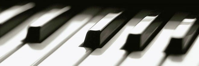 a close up of a piano