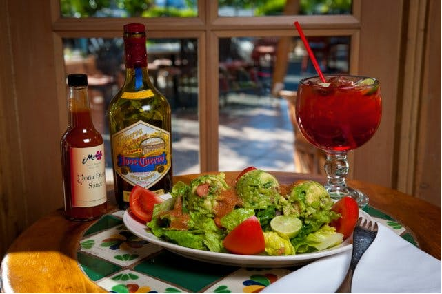 guacamole salad, salsa diabla, tequila, margarita