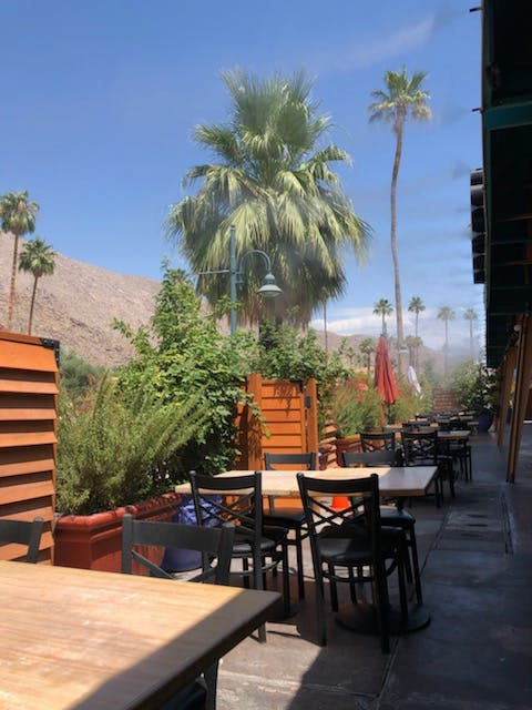 outside patio with misters on