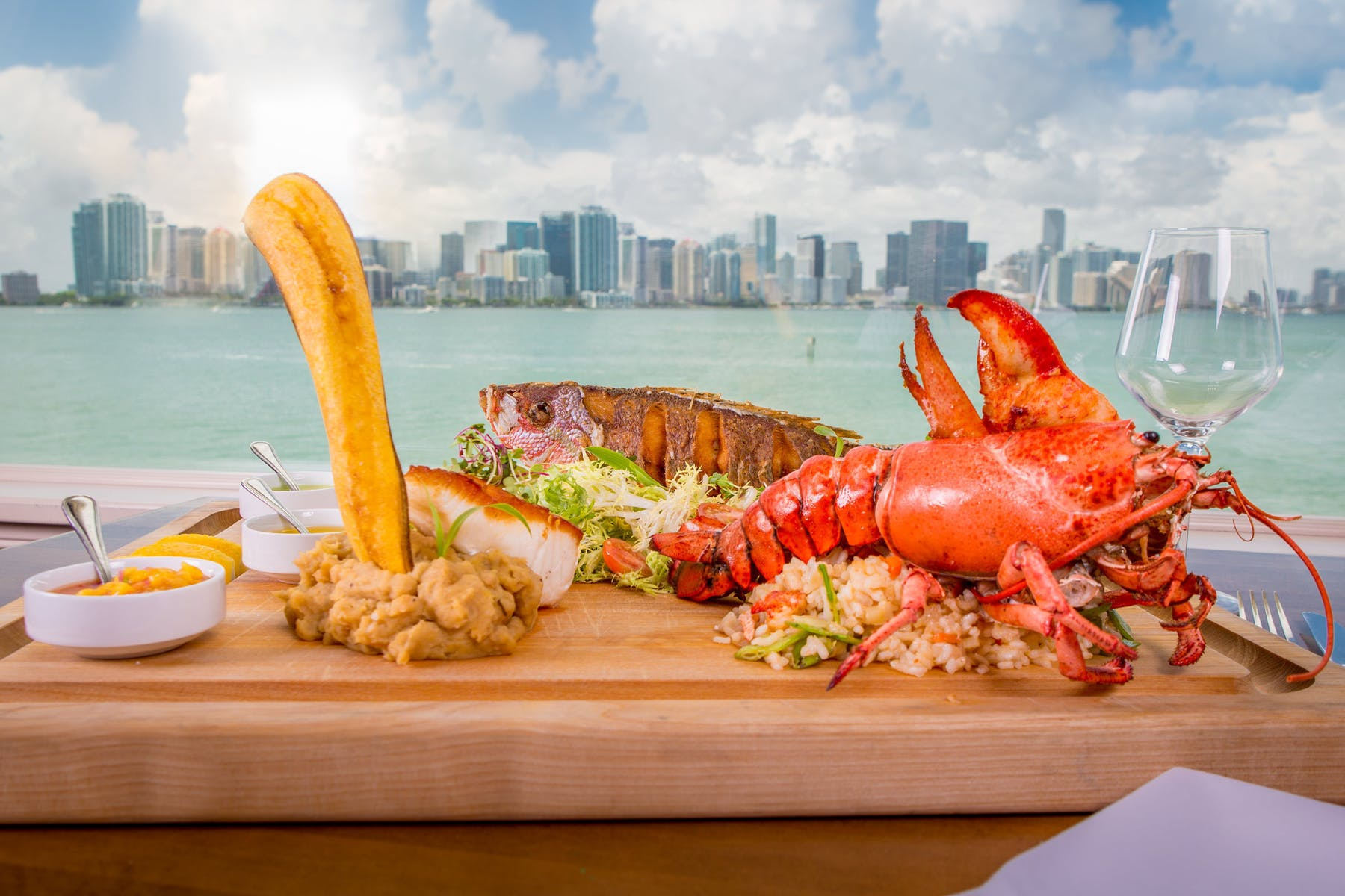 a lobster on a wooden table