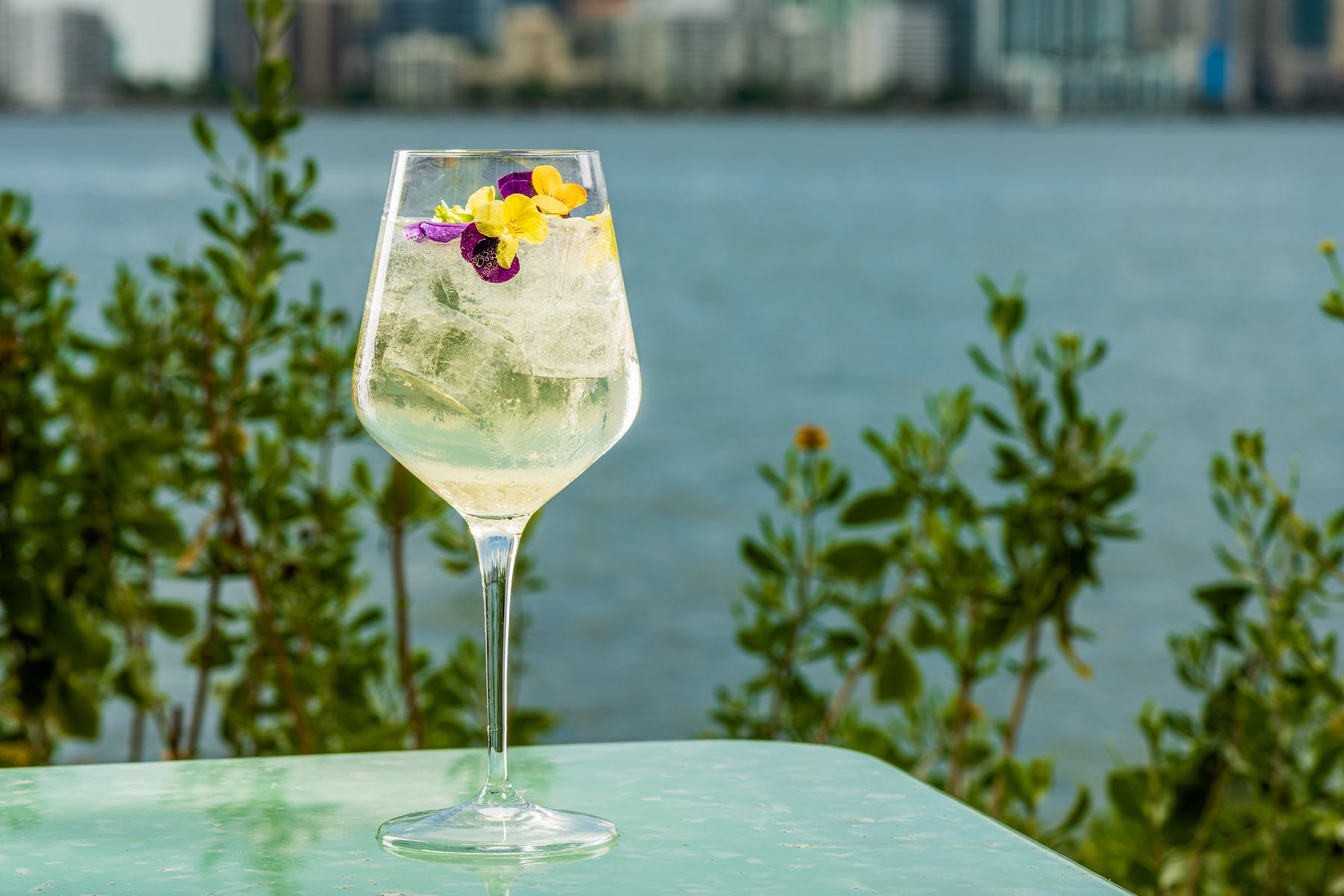 gin cocktail with view