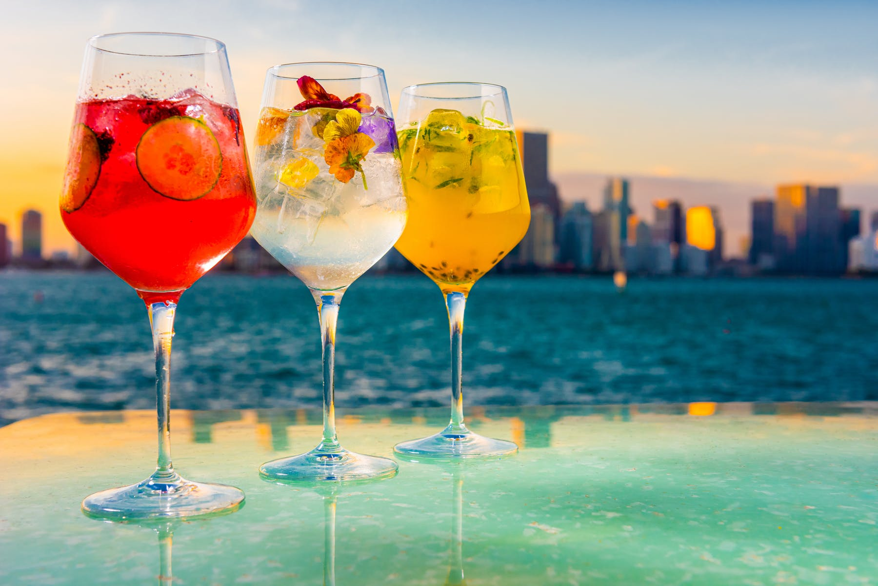cocktails with sunset view