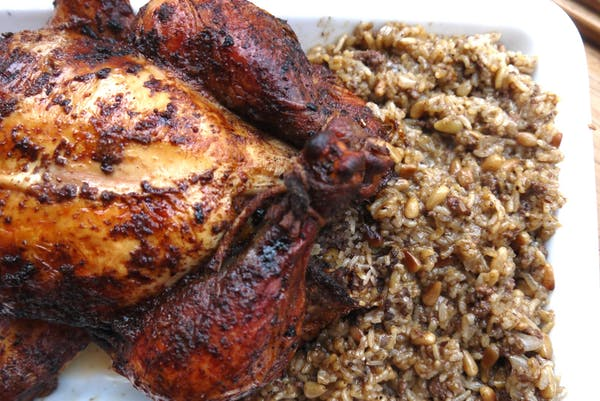 Roasted rice stuffed chicken