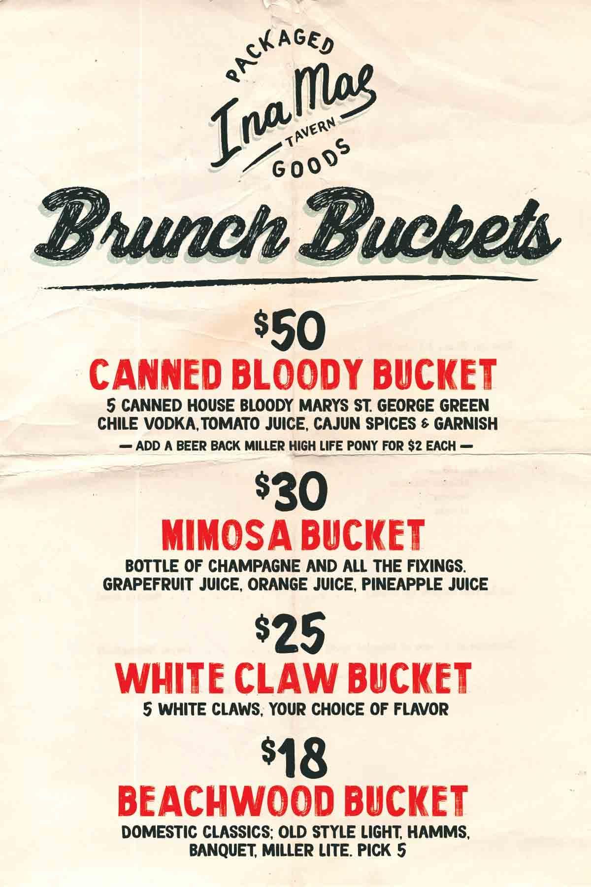 Brunch Bucket Specials! | Ina Mae
