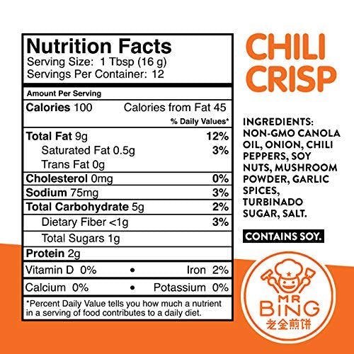 label nutrition calories fda percent daily value facts ingredients non gmo canola oil onion chili chilies peppers soy nuts mushroom powder garlic spices turbinado sugar salt allergy allergies gluten free vegan no msg no preservatives logo mr bing chili crisp