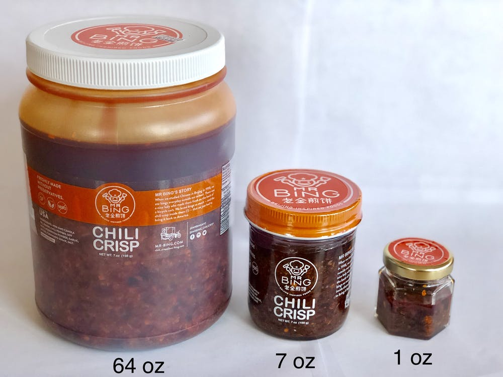 thee 3 sizes of mr bing chili crisp 64 7 1 sixty-four seven one ounce oz jar plastic glass white travel sample retail food service compare hexagon round sku skus
