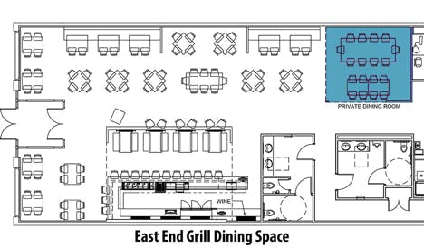 map of the east end grill dining space