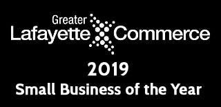 a close up of a the greater lafayette commerce award for small business of the year in 2019