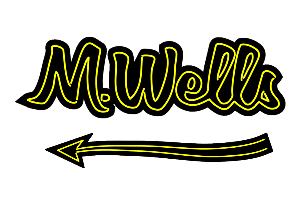 M. Wells logo and arrow
