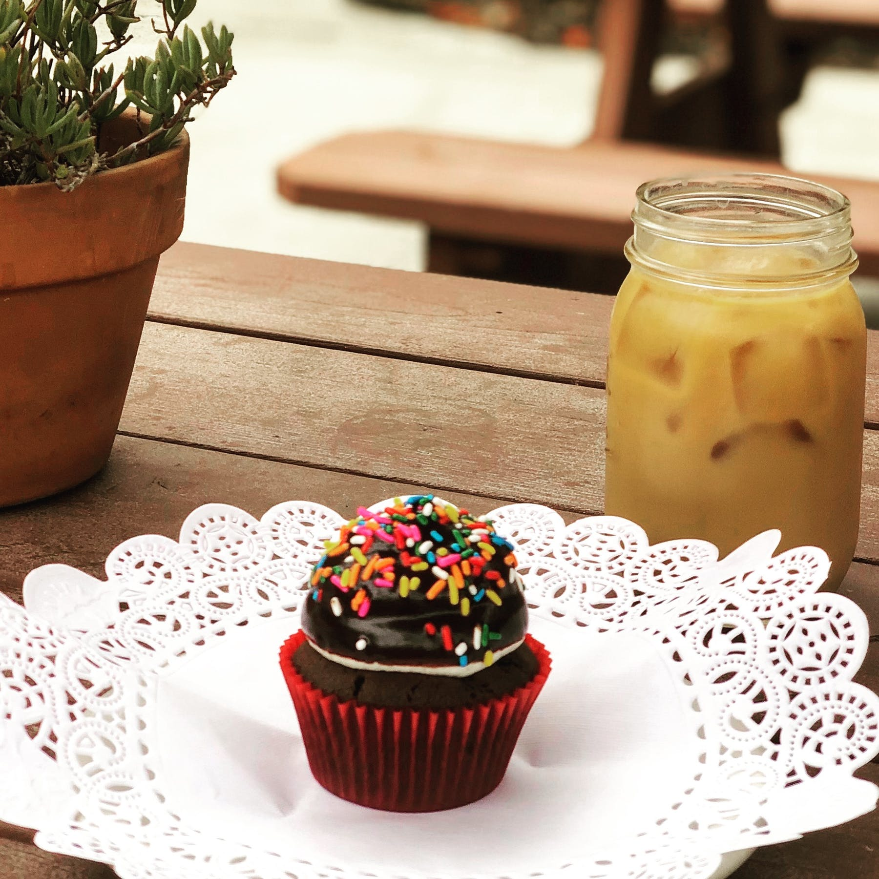 a chocolate cupcake with sprinkles and iced coffee