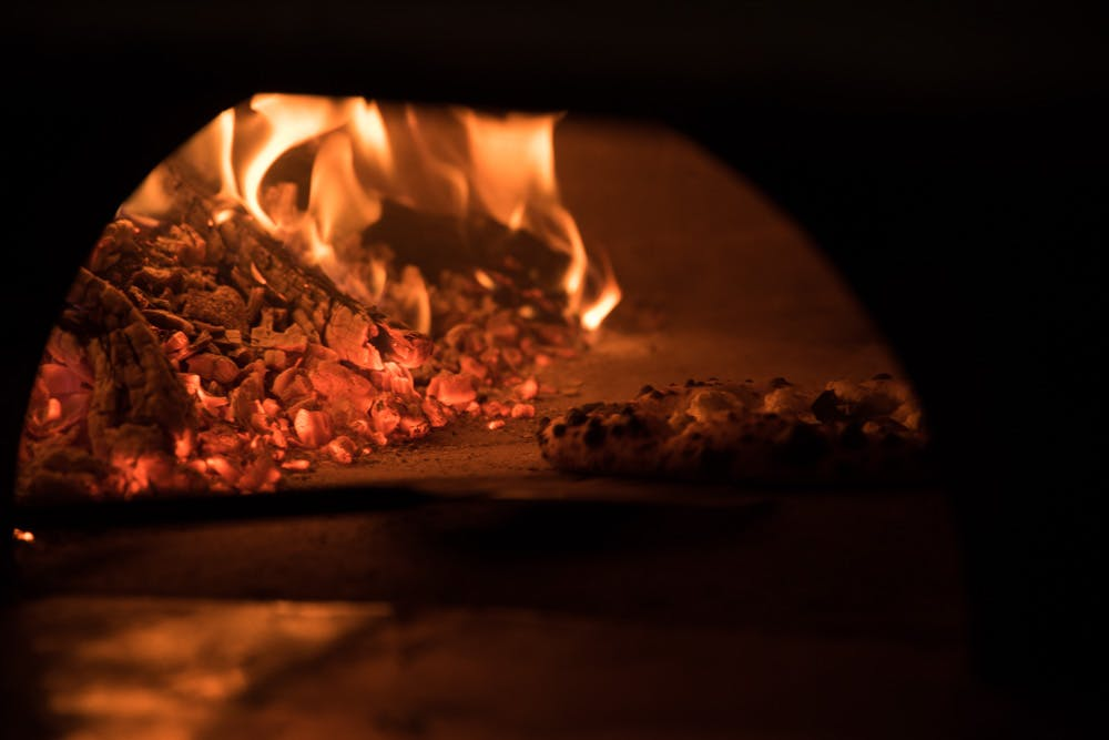 a close up of a fire oven
