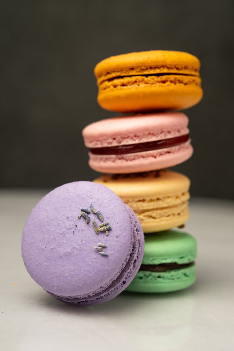 A stack of colorful macarons.