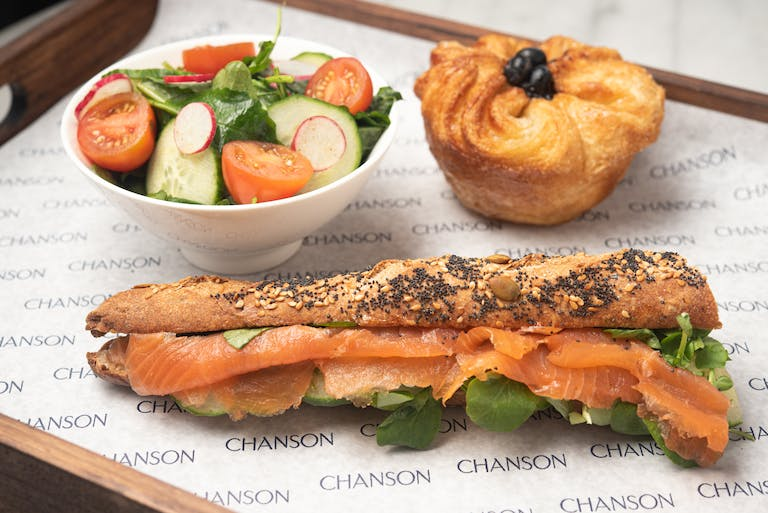 Sandwich, side salad, and seasonal Kouign-Amann.