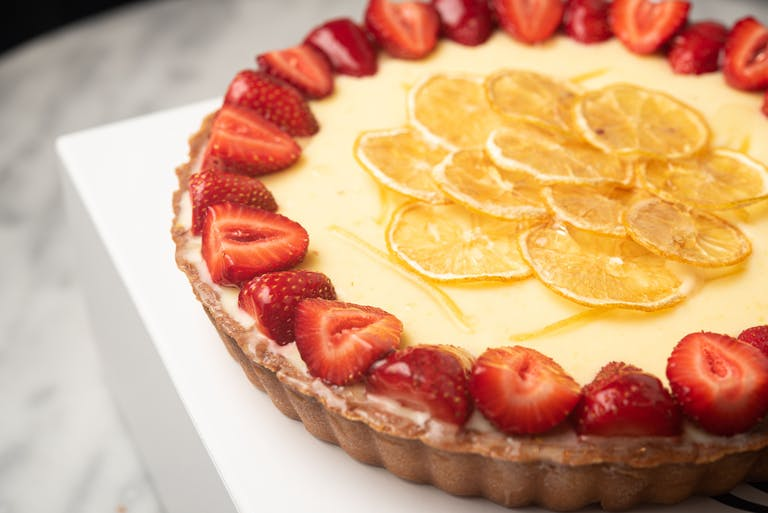 A lemon and yuzu tart.
