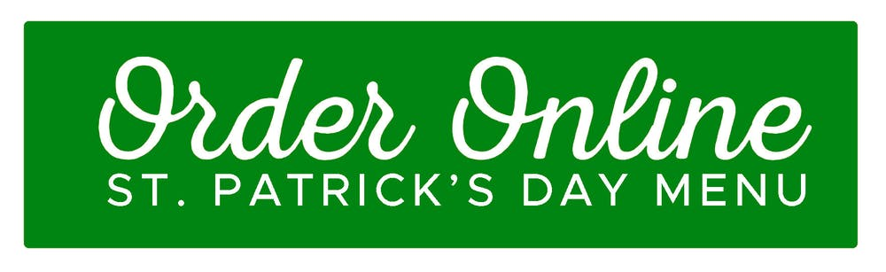a green button for St. Patrick's Day online ordering