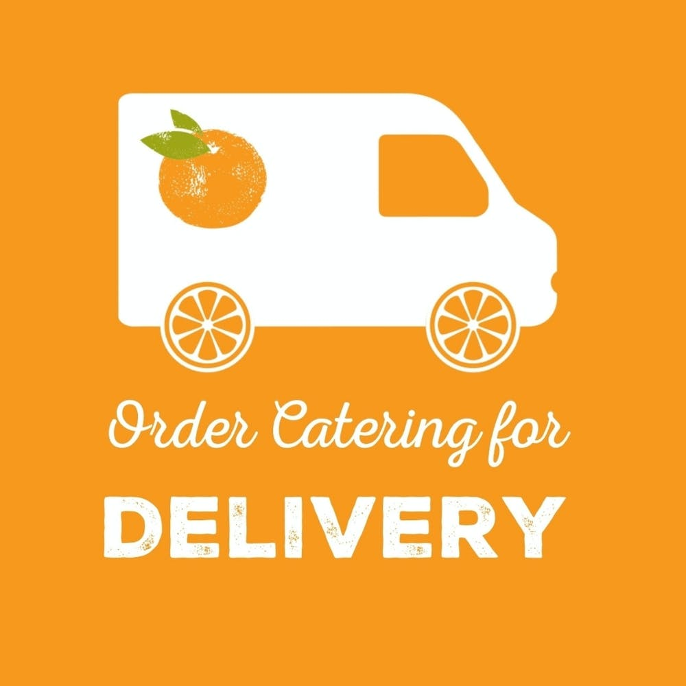logo, company name, delivery truck on orange background