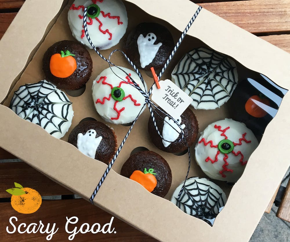 Halloween Cupcakes in a box on a table