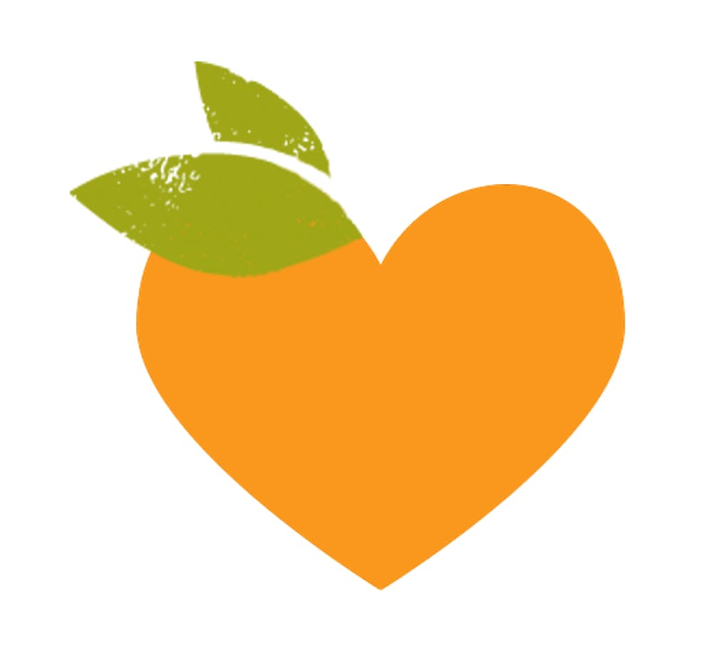 Valentine's Day heart shaped clementine logo with leaf