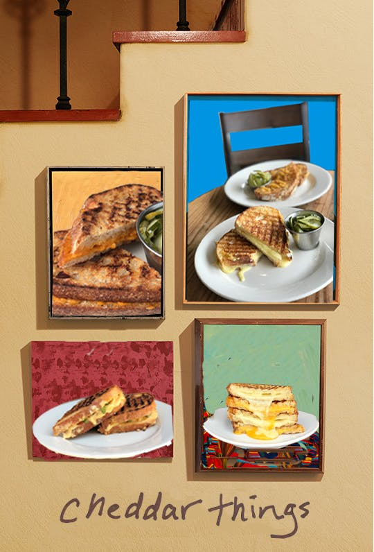 framed grilled cheese artwork on stairwell