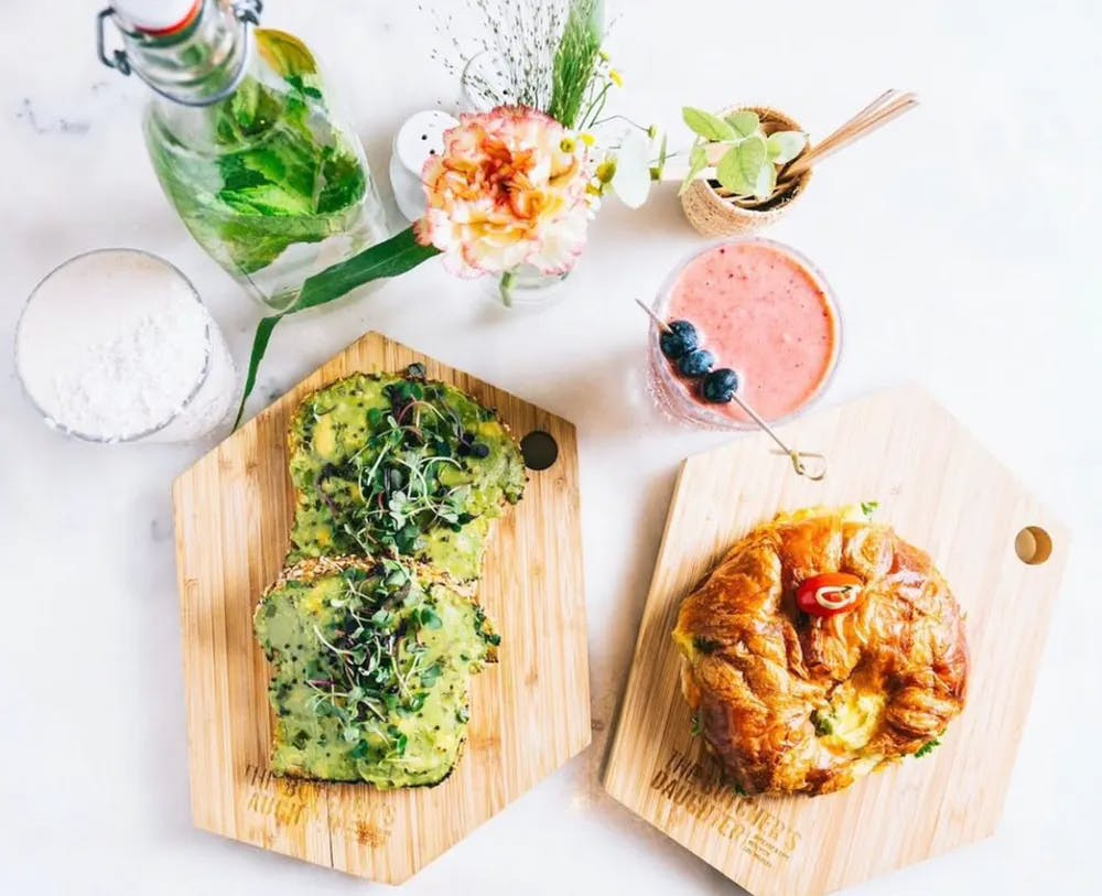 a group of different types of food on a table