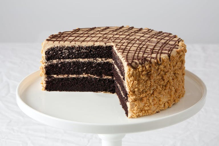 a piece of chocolate cake on a plate