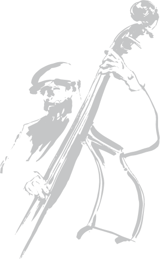 a drawing of a man playing upright bass
