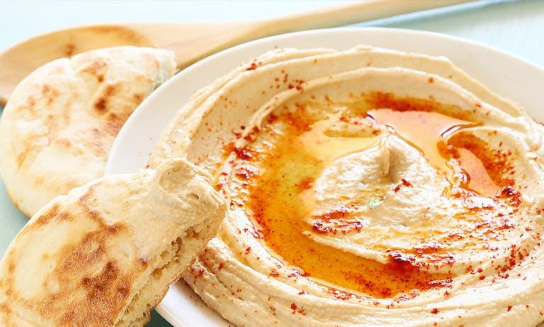 Egyptian Food, Hummus, Virgin Olive Oil, Sumac, Pita Bread