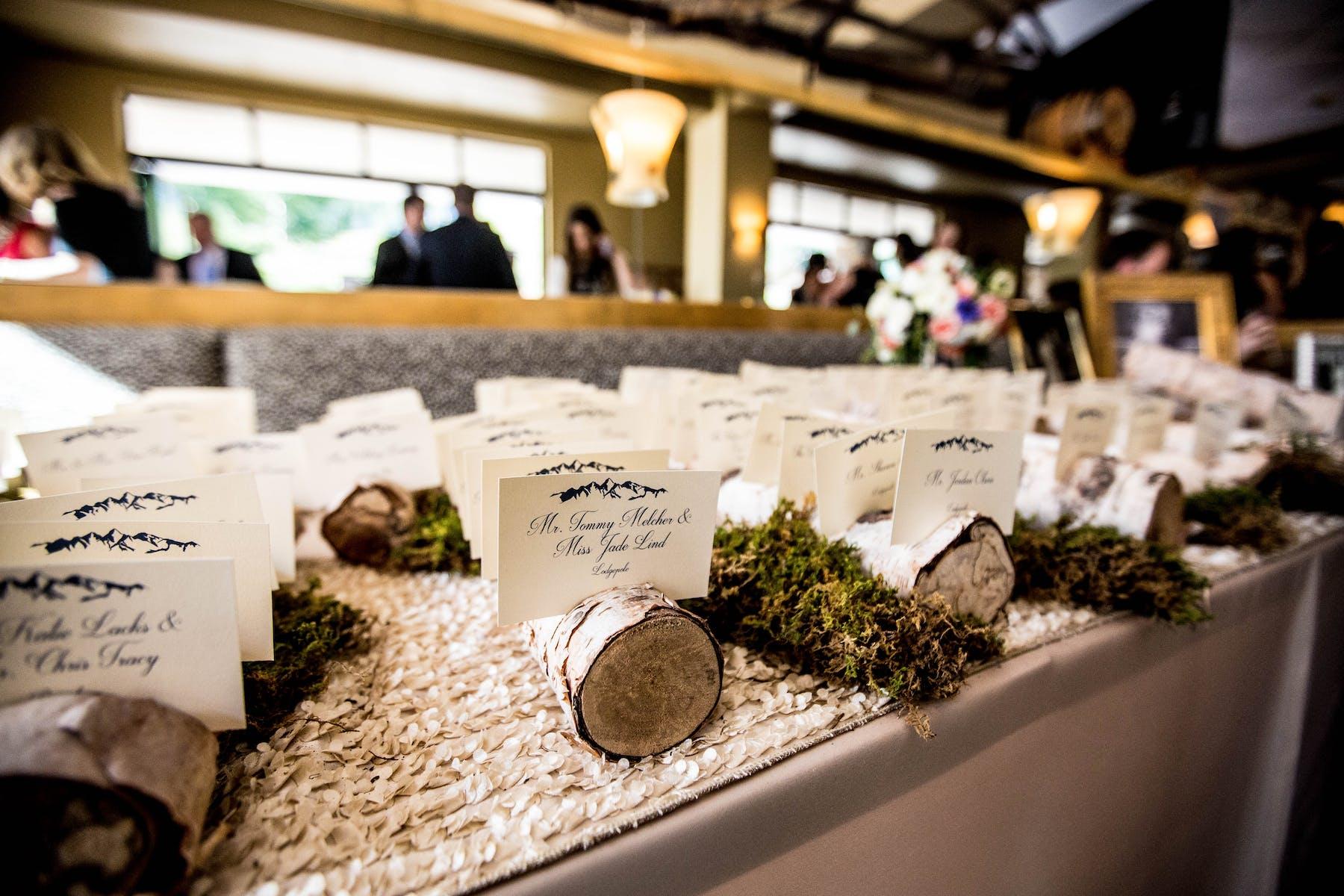 Larkspur Wedding Venue Vail Colorado Mountain Patio Bar Placecards